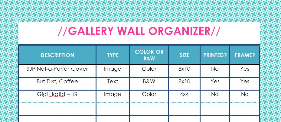 Gallery Wall - Example