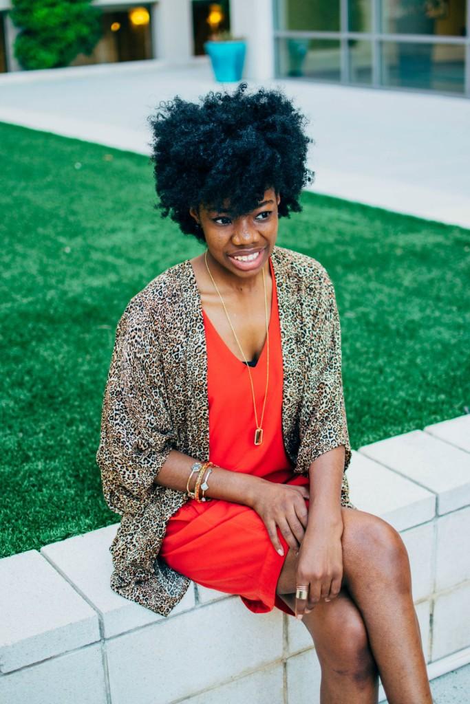 leopard, dress, natural hair
