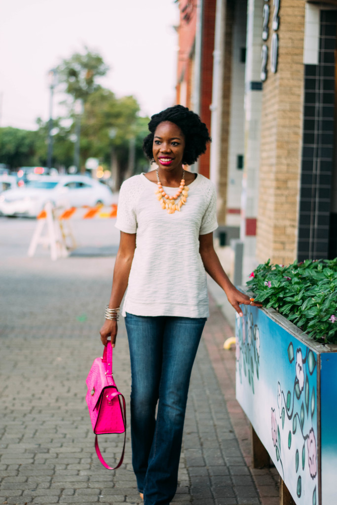 natural hair, twistout, jeans, flares, flare jeans, kate spade bag