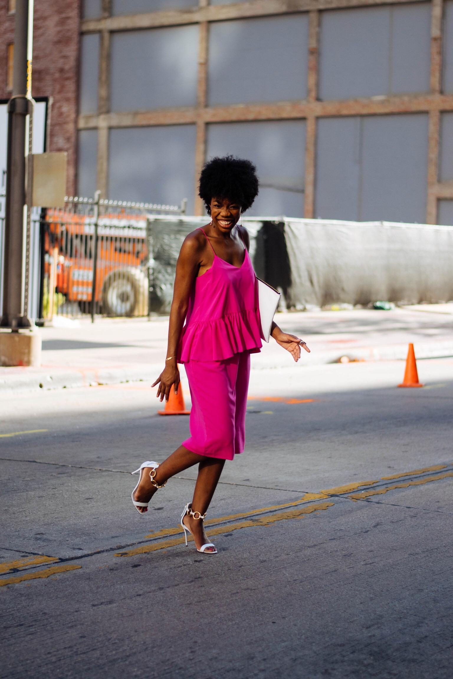 street style, NYFW, fashion week, style , pink dress, giuseppe zanotti
